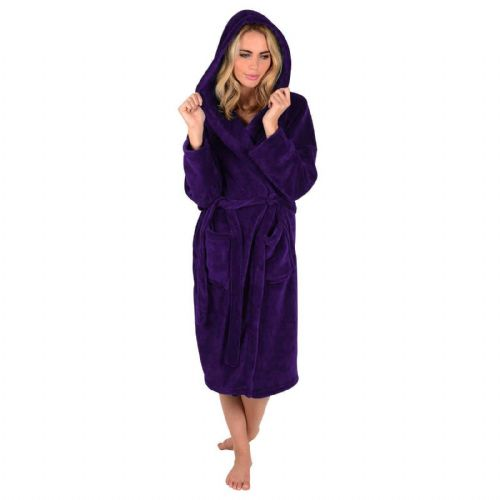 LADIES PURPLE COLOUR LUXURY SOFT FLEECE MICROFIBRE HOODED BATHROBE DRESSING GOWN